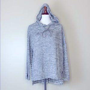 DOE & RAE Grey Hooded Plaid Multi Top S